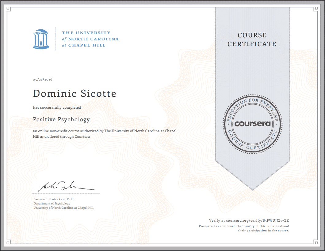 Certificat Psychologie Positive